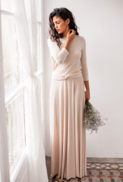 Bridesmaid-Long-Sleeve-dress-Mimetik-Bcn-Champagne