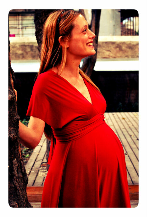 Ready to ship baby shower long dress, baby shower red maternity infinity dress, for mom, satin red rouge dress floor length gown