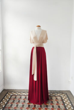 Nude long evening dress, champagne red dress, two color bridesmaid dress, two toned dress, weddings, bridesmaids, evening gown l