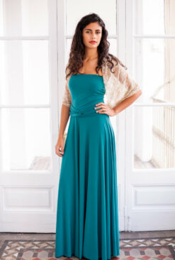 Long convertible turquoise dress, turquoise wrap dress, long sleeve infinity dress, long teal dress, long turquoise prom dress,