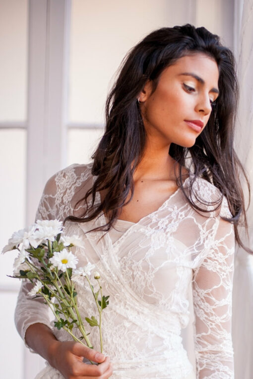 Lace dress, champagne ivory lace wedding dress, romantic bridal gown, vintage style wedding dress, long sleeved wedding dress, l