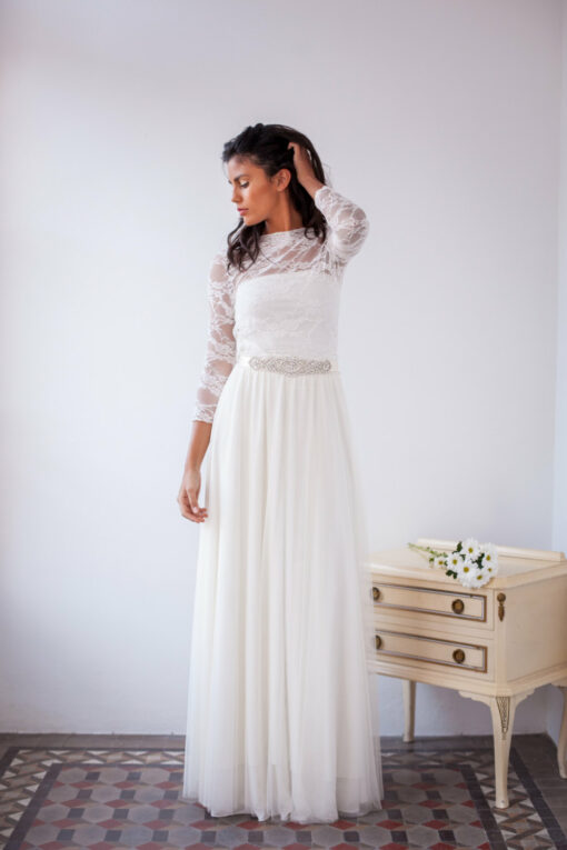 Tulle and lace wedding dress, romantic tulle dress, long sleeve lace wedding dress, tulle bridal gown, boho chic wedding dress w
