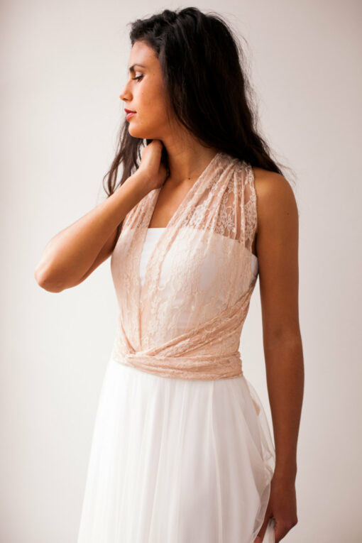 Lace wedding dress with tulle skirt, lace and tulle wedding dress, rose gold wedding dress, bohemian lace wedding dress, tulle w