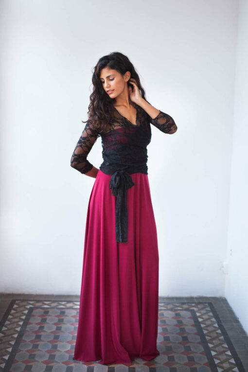 Black sleeves lace dress, dark red dress, lace dress, long dress, evening formal dress, lace party dress, bridesmaid dress, lace