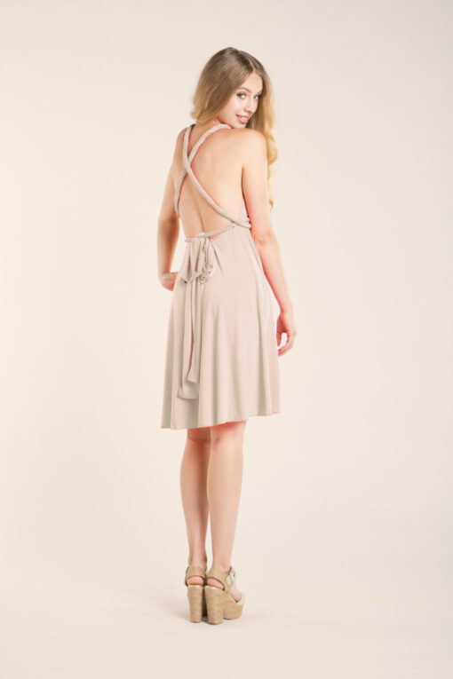 Champagne bridesmaid dress, short convertible dress, beige dress, nude knee-length dress, occasion dress, twisted straps, crosse