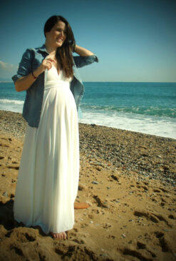 Ready to ship maternity dress, white gown, maternity white gown, maternity maxi dress, maternity romantic dress, infinity white