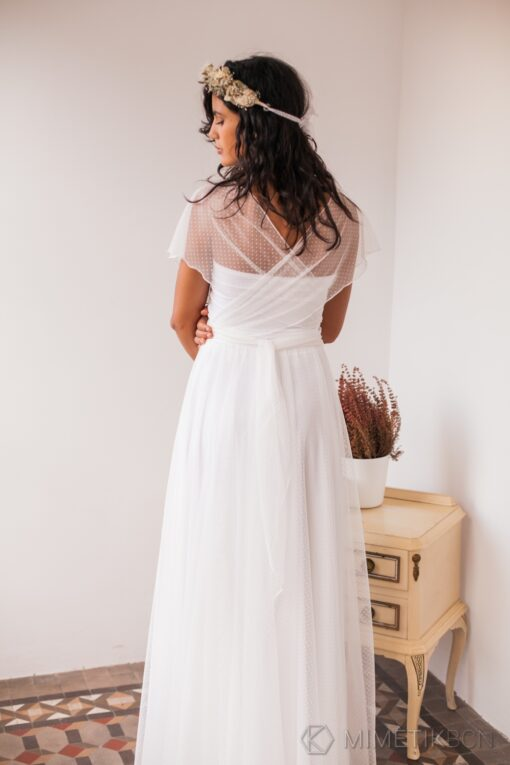 Dotted swiss tulle wedding dress, dotted swiss tulle wedding dress, white dotted swiss dress, soft dotted swiss wedding gown, sw