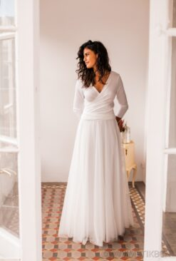 Swiss dot tulle skirt wedding gown with sleeves - Frida Rustic