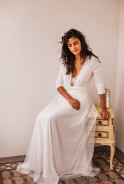 White tulle skirt bridal gown with small hearts - Frida Rustic