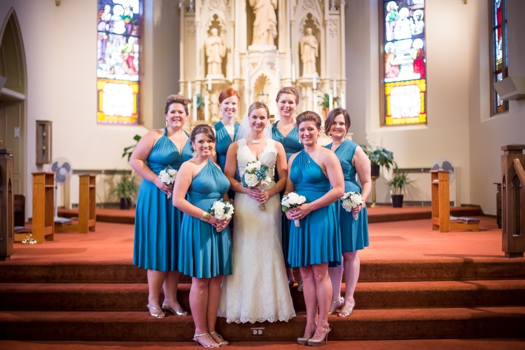 short-teal-bridesmaid-dress