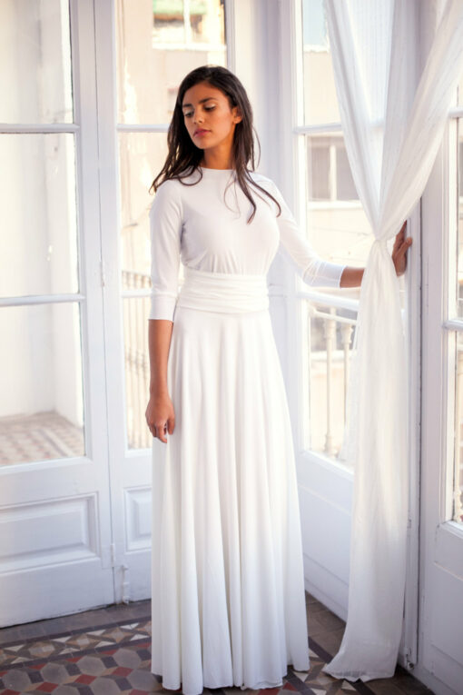 Long sleeved wedding dress, ivory white bridal gown with 3/4 sleeve, white wrap dress, convertible wedding dress, wedding dress