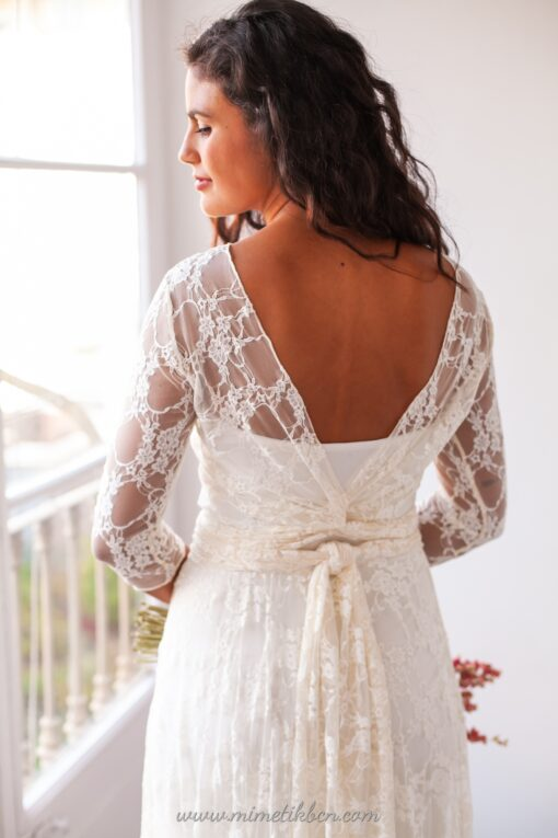 Lace illusion wedding dress with sleeves