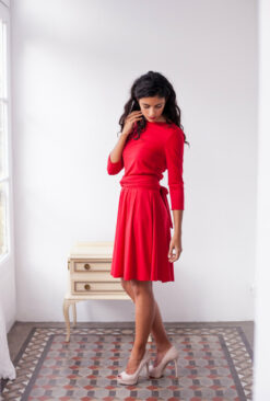 Short red dress, red wrap dress, red dress with sleeves, bridesmaid dress, red party dress, convertible dress, 3/4 sleeve dress,