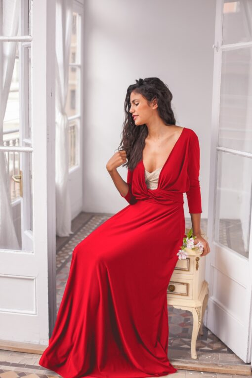 Long red dress, long wrap dress, red 3/4 sleeve gown, red long sleeve maxi dress, convertible wrap dress, red long dress, red ev