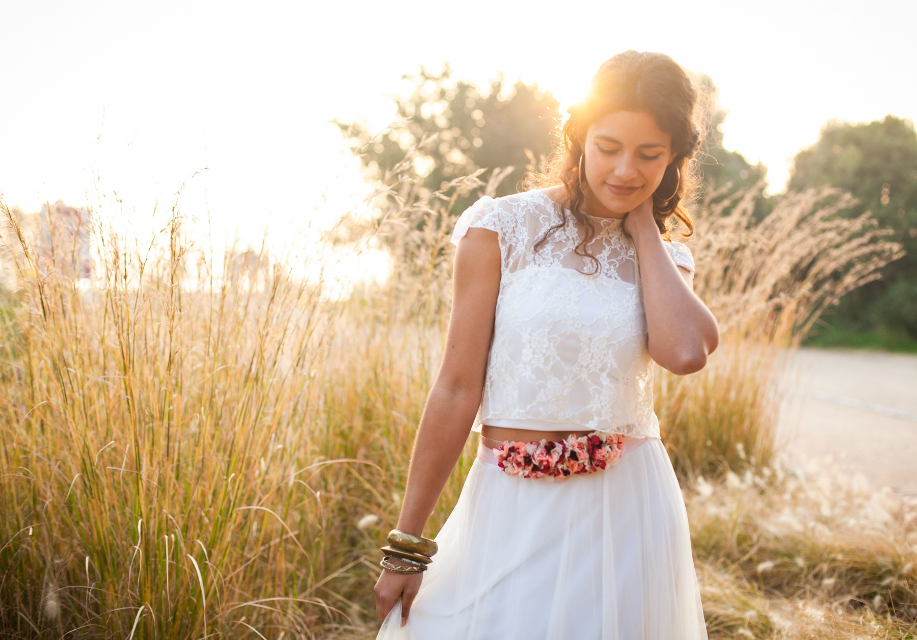 Bohemian two-piece wedding dress
