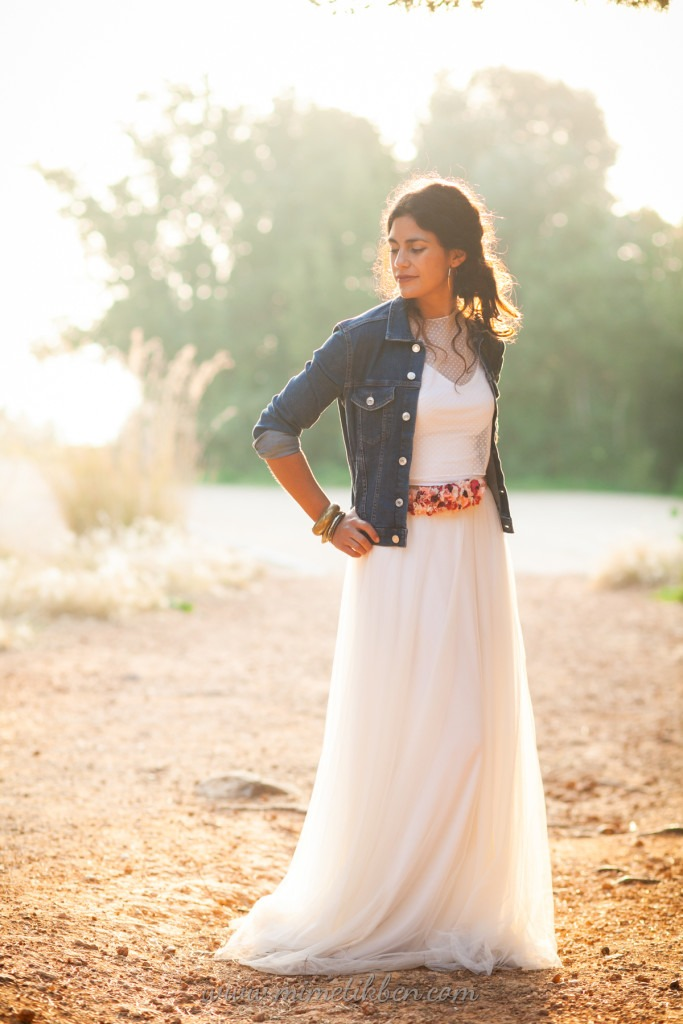 Tulle Wedding dress with denim jacket