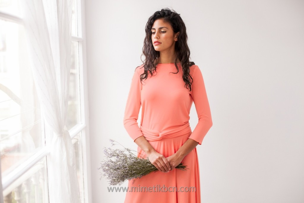 long sleeve coral dress