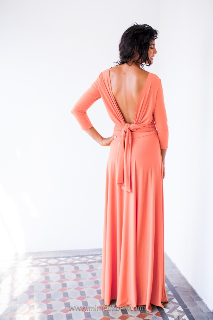 coral dress low back neckline