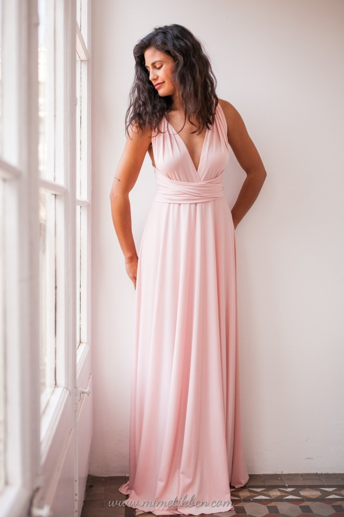 rose quartz bridesmaid dress