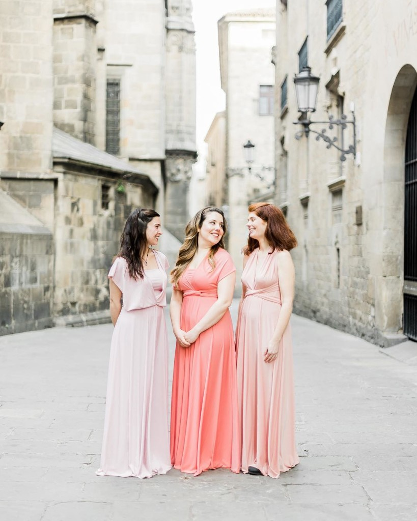 pink color scale dresses