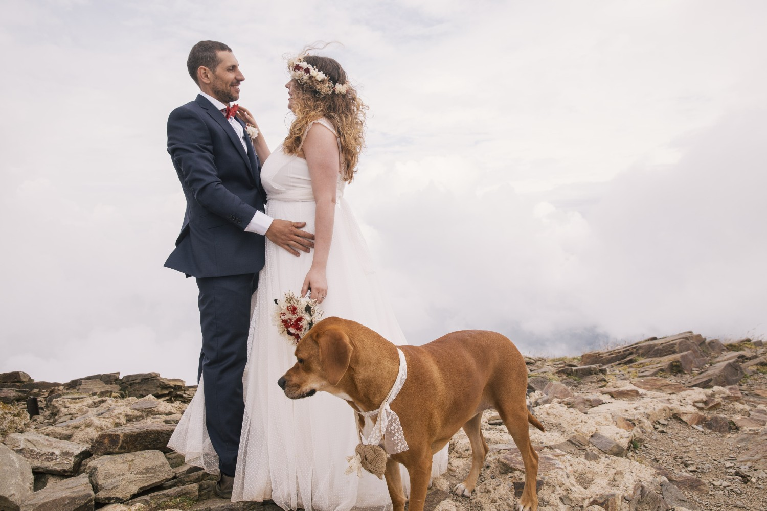 wedding with a dog in the mountains