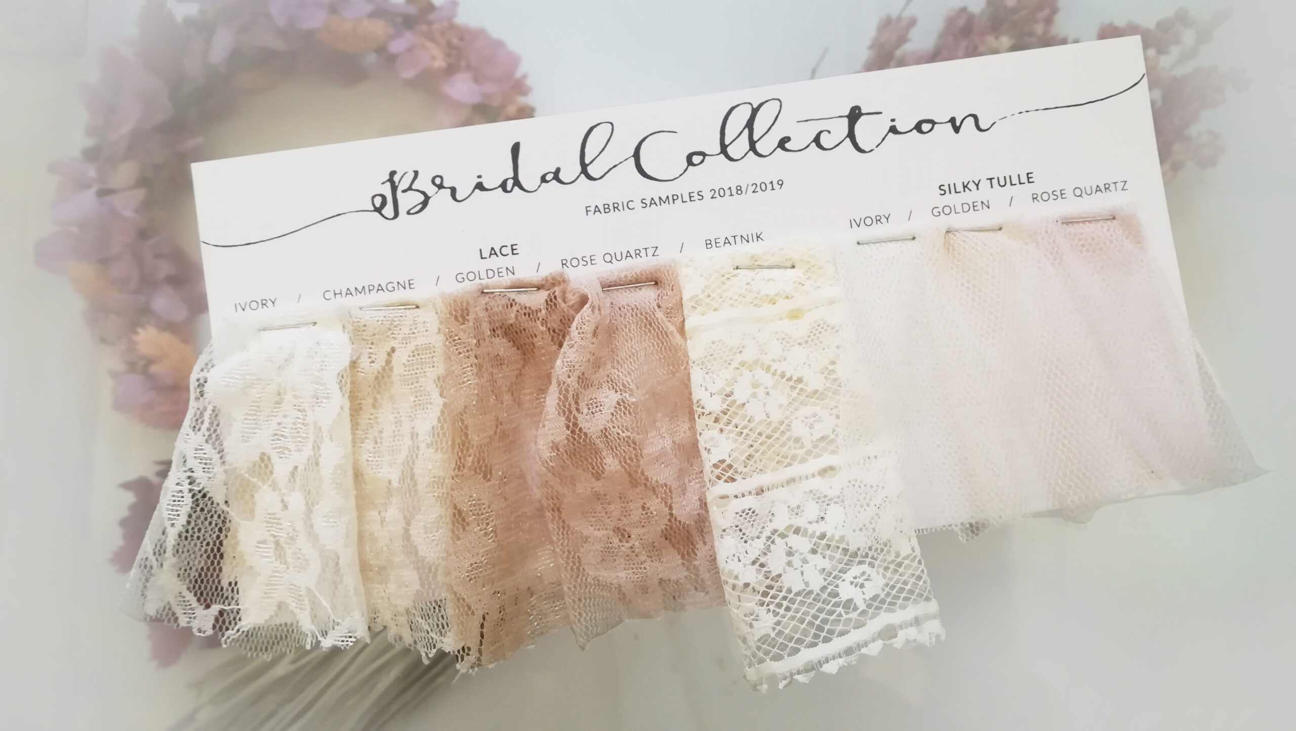 Lace swatches for brides. Pick the ideal lace fo your fancy mask