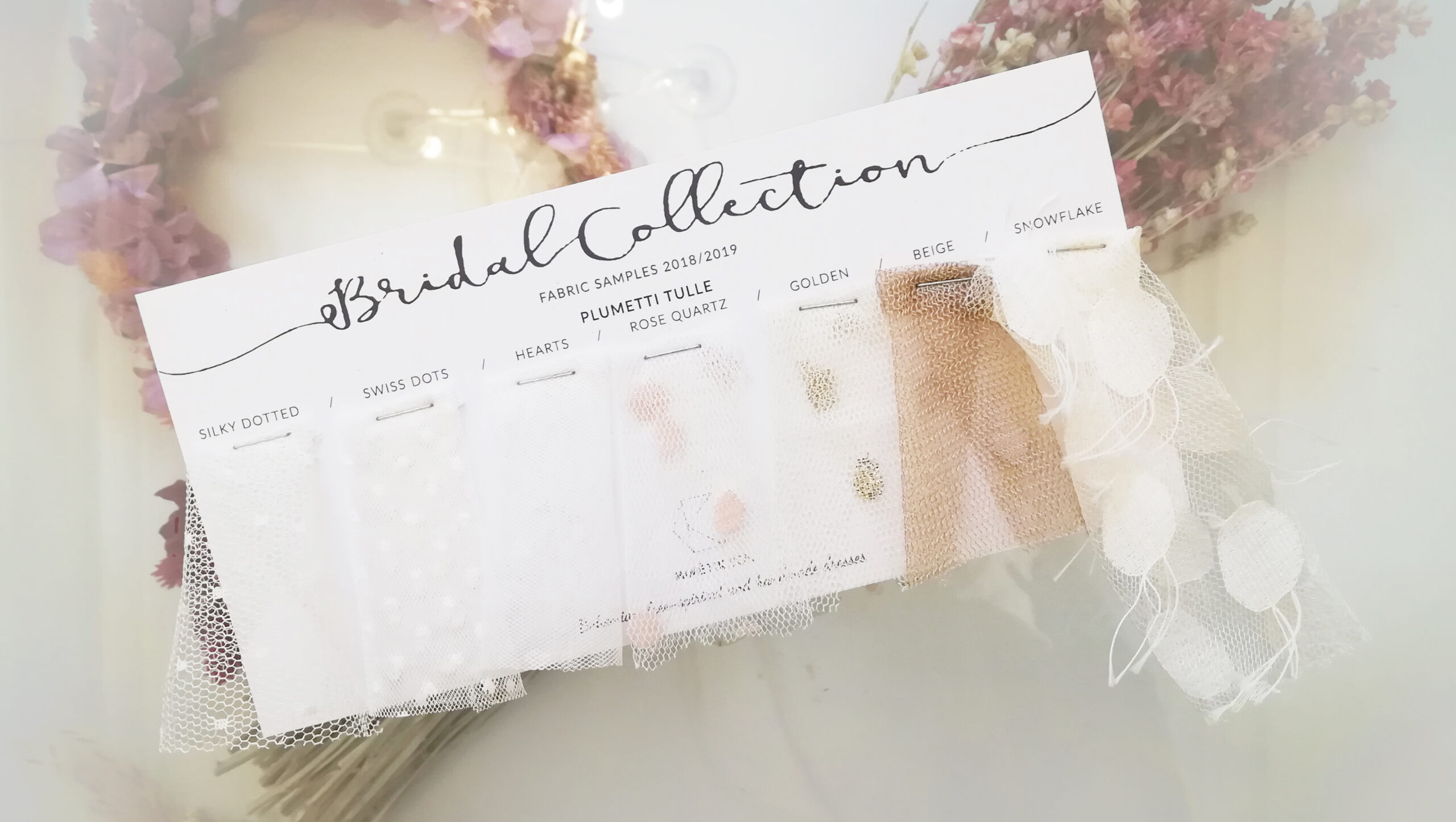 Tulle swatches for brides, bridal sample.