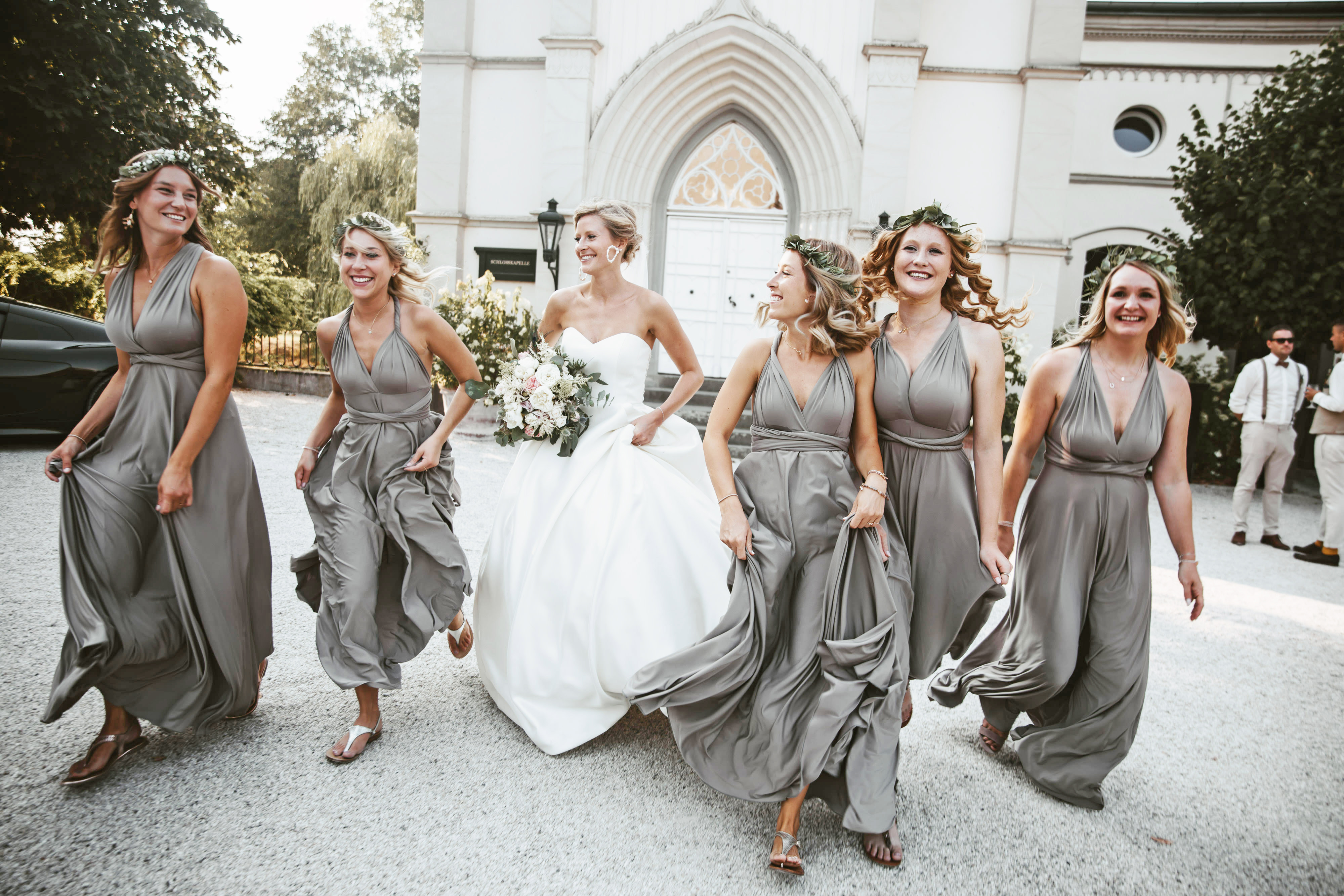 Group of bridesmaids in convertible dresses